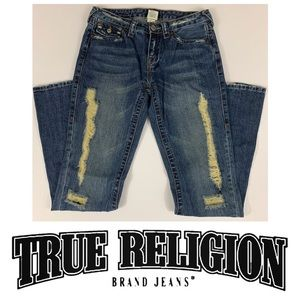 True Religion Destroyed Flare Cut Jeans